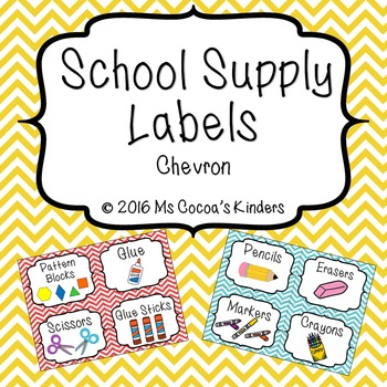 School Supply Labels - Chevron