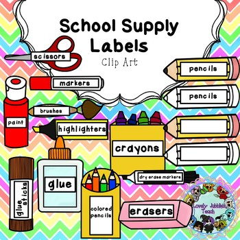 School Supply Labels Clip Art