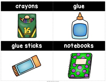 School Supply Labels, Flash Cards, or Word Wall & Create Your Own Labels