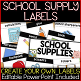 School Supply Labels, Flash Cards, or Word Wall & Create Y