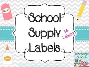 School Supply Labels - Gray & White Chevron