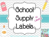 School Supply Labels - Gray & White Chevron