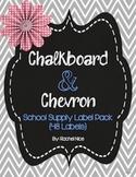 School Supply Labels - Fun Chalkboard and Chevron Theme!