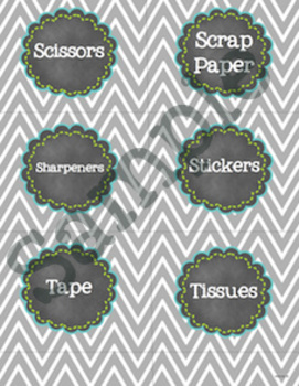 School Supply Labels - Fun Chalkboard and Chevron Theme!