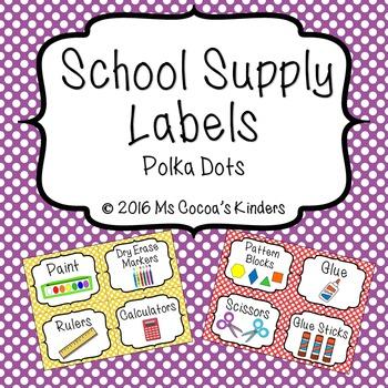 School Supply Labels - Polka Dots