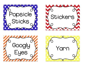 School Supply Labels {Primary Patterns} *EDITABLE*