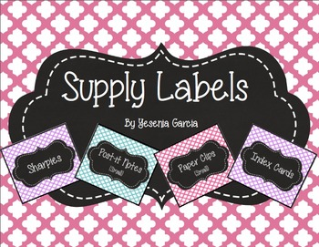 Supply Labels for the Classroom (Quatrefoil) - Editable