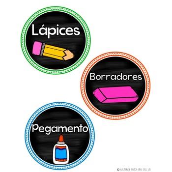 School Supply Labels Spanish Etiquetas para materiales