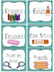 School Supply Labels With Graphics in 42 Color Sets