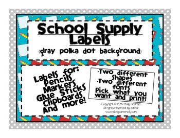 School Supply Labels for the Classroom - Gray and White Po