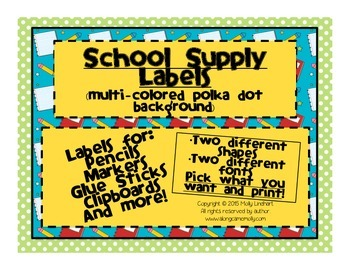 School Supply Labels for the Classroom - Multi-Colored Pol