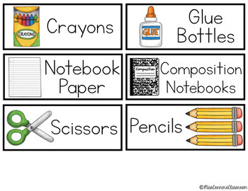 School Supply Labels with Pictures