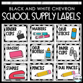 School Supply Labels with Pictures (Black and White Chevron)