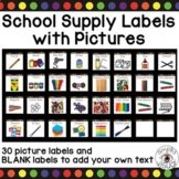 School Supply Labels with Pictures and Rainbow Dots