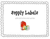 School Supply Labels with pictures and words