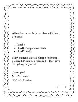 School Supply Letter