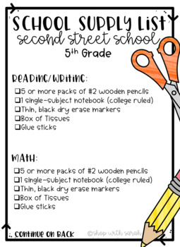 School Supply List - Editable