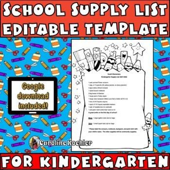 School Supply List Example for Kindergarten: Editable Download!