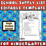 School Supply List Example for Kindergarten: Editable Download!