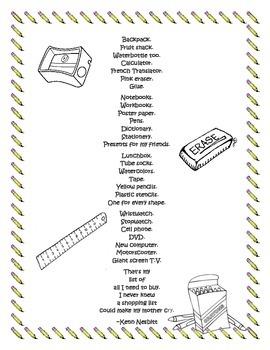 School Supply List & Poem