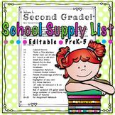 School Supply List PreK-5 *EDITABLE*