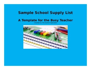 School Supply List Template