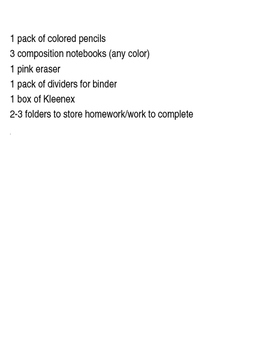 School Supply List with Pictures
