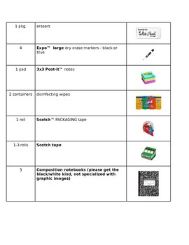 School Supply List (with images!)