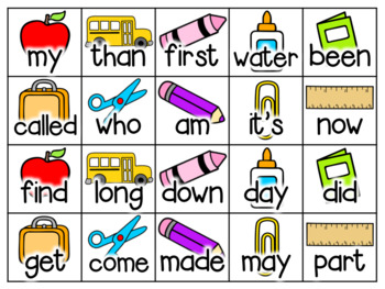 School Supply Math Fact and Sight Word Flash Cards {Editable!}