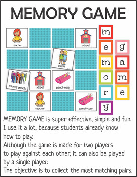 School Supply Memory Game