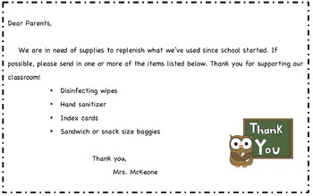 School Supply Note - Editable English and Spanish