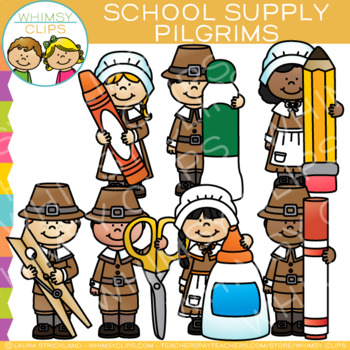 School Supply Pilgrims Clip Art