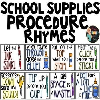 School Supply Procedure Rhymes