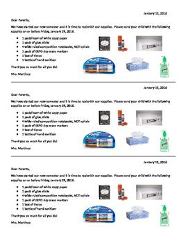 School Supply Replenishment Letter