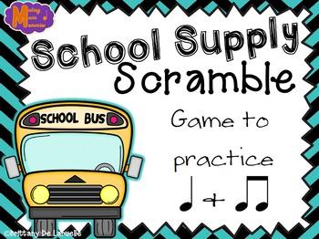 School Supply Scramble - A Game for Practicing Ta & Ti-ti