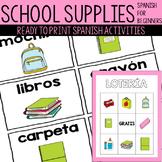 School Supply Spanish Activities / Materiales escolares en