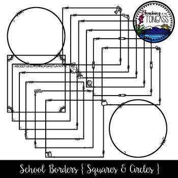 School Supply Square and Circle Borders Clipart (School Clipart)