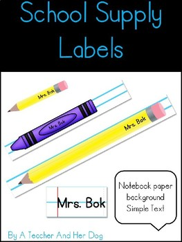 School Supply Student Lables