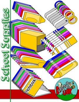 School Supply Themed Clip art/Graphics - 300dpi Color, Grayscale, Black Lined