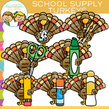School Supply Thanksgiving Turkeys Clip Art