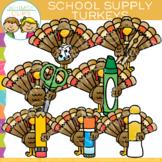School Supply Thanksgiving Turkeys Clip Art