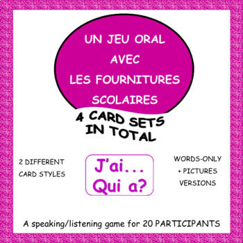 French School Supply Vocabulary Game - Le cercle magique