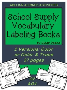 School Supply Vocabulary Labeling Books