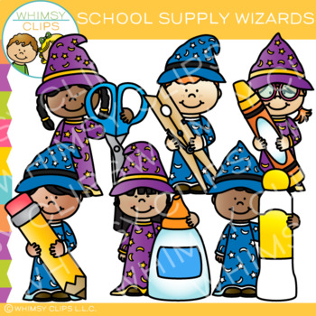 School Supply Wizards Clip Art