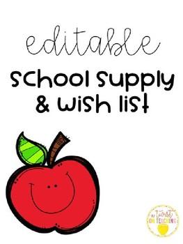 School Supply and Wish List- Editable