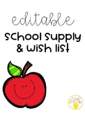 School Supply and Wish List- Editable
