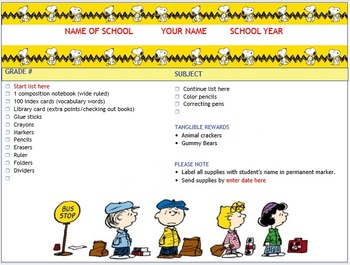 School Supply list Peanuts Theme