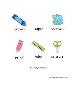 School Syllable Sort (1 & 2 syllable words)