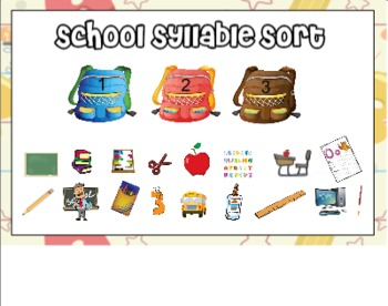 School Syllable Sort for Smart Board