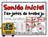 School Task Cards in Spanish- Tarjetas de trabajo- Tema es